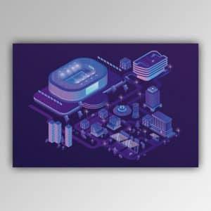 Spielhandtuch Stadion ultraviolett Motiv - upina.de