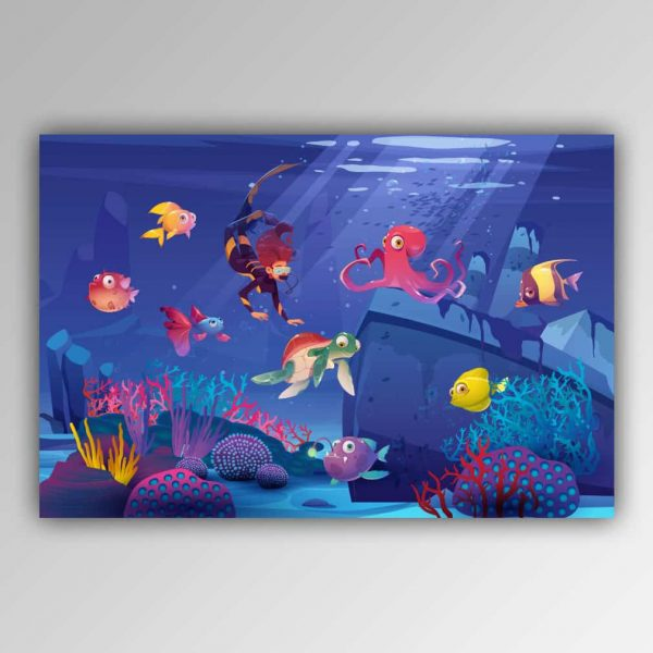 Spielhandtuch Unterwasserwelt Motiv - upina.de