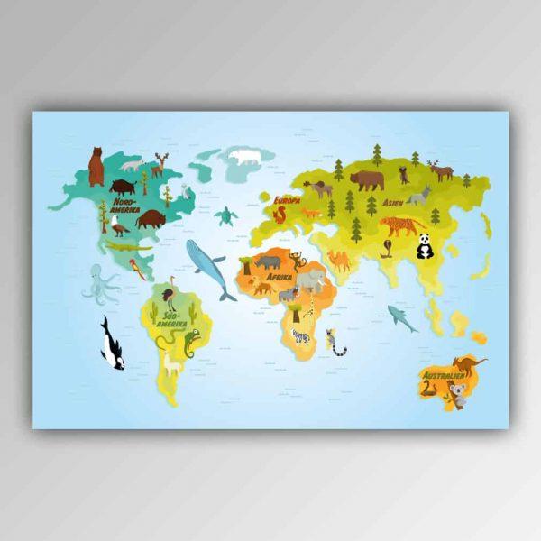 Spielhandtuch Weltkarte Tiere Motiv - upina.de